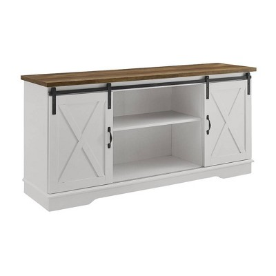 "Modern Farmhouse Wood TV Stand for TVs up to 65"" White/Rustic Oak - Saracina Home"