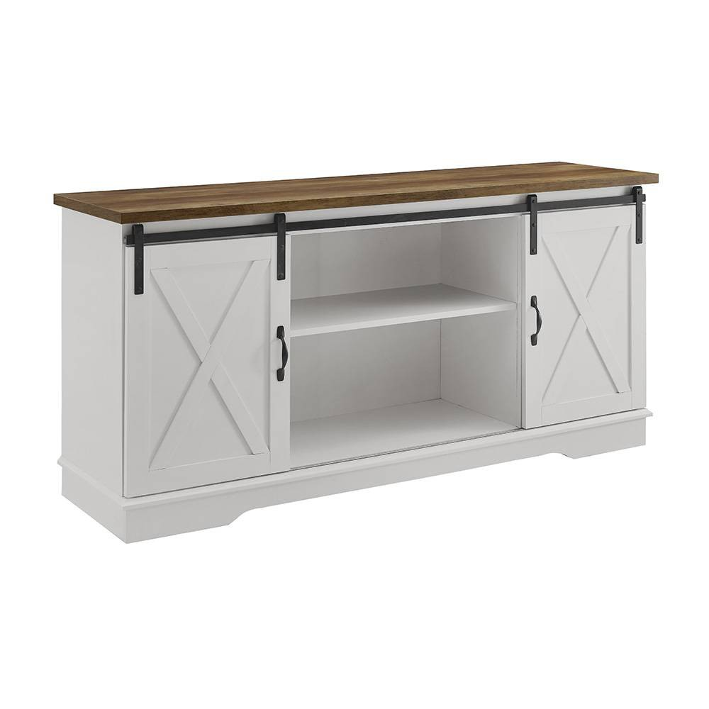 58 Modern Farmhouse Wood TV Stand White/Rustic Oak - Saracina Home