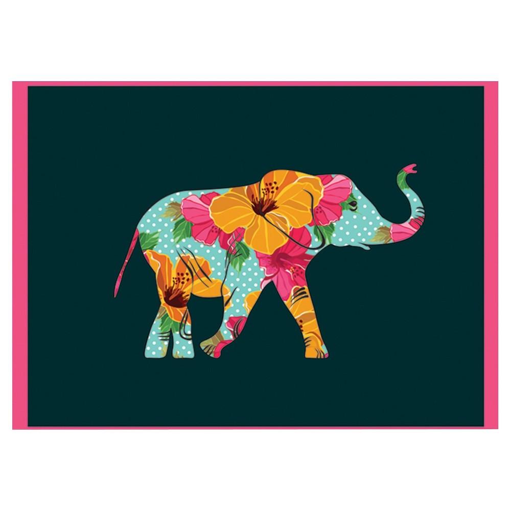 10ct Elephant Contemporary Design Notecards, Black