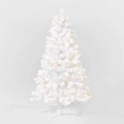 4.5ft Pre-lit White Alberta Spruce Artificial Christmas Tree Clear Lights - Wondershop™