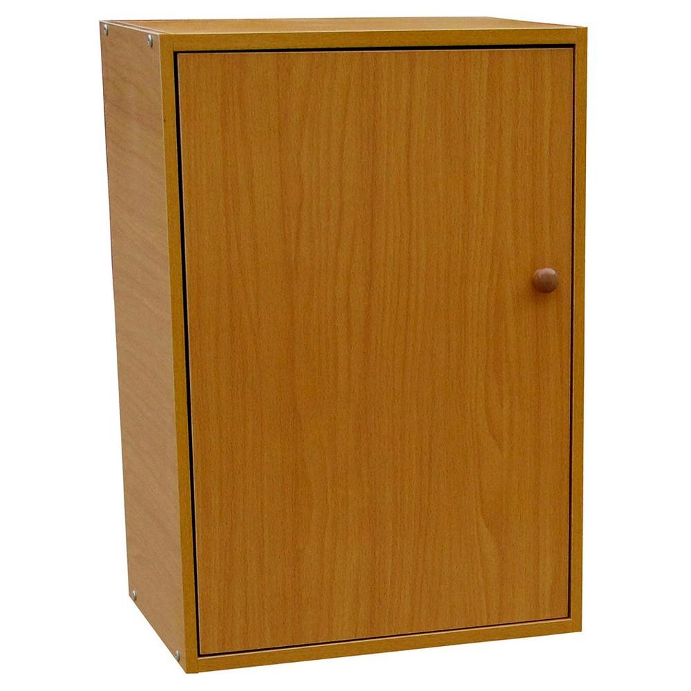 """Image of """"35.5"""""""" 2 Tier Adjustable Book Shelf with Door Tan Wood - Ore International, Brown"""""""