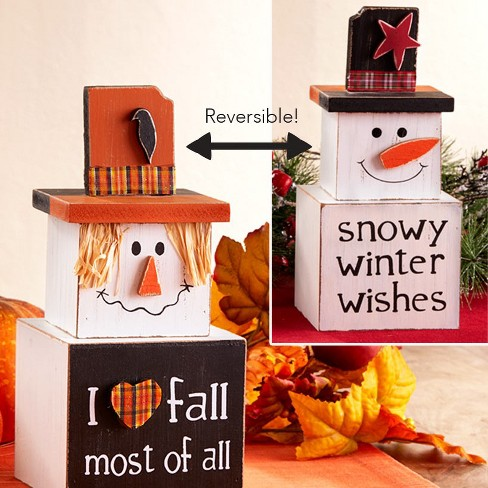Lakeside Reversible Side Snowman Stacking Box Decoration with Winter and Fall Displays - image 1 of 4