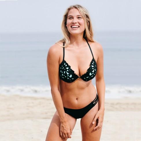 1cac625901a Women's Shore Light Lift Laser Cut Bikini Top - Shade & Shore™ Black/Aqua