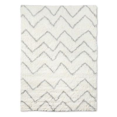5'x7' Chevron Shag Area Rug Cream - Pillowfort™