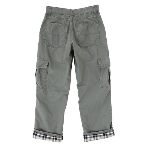 Wrangler Originals Boys' Flannel Lined Ripstop Cargo Pants Olive 8 - image 1 of 7