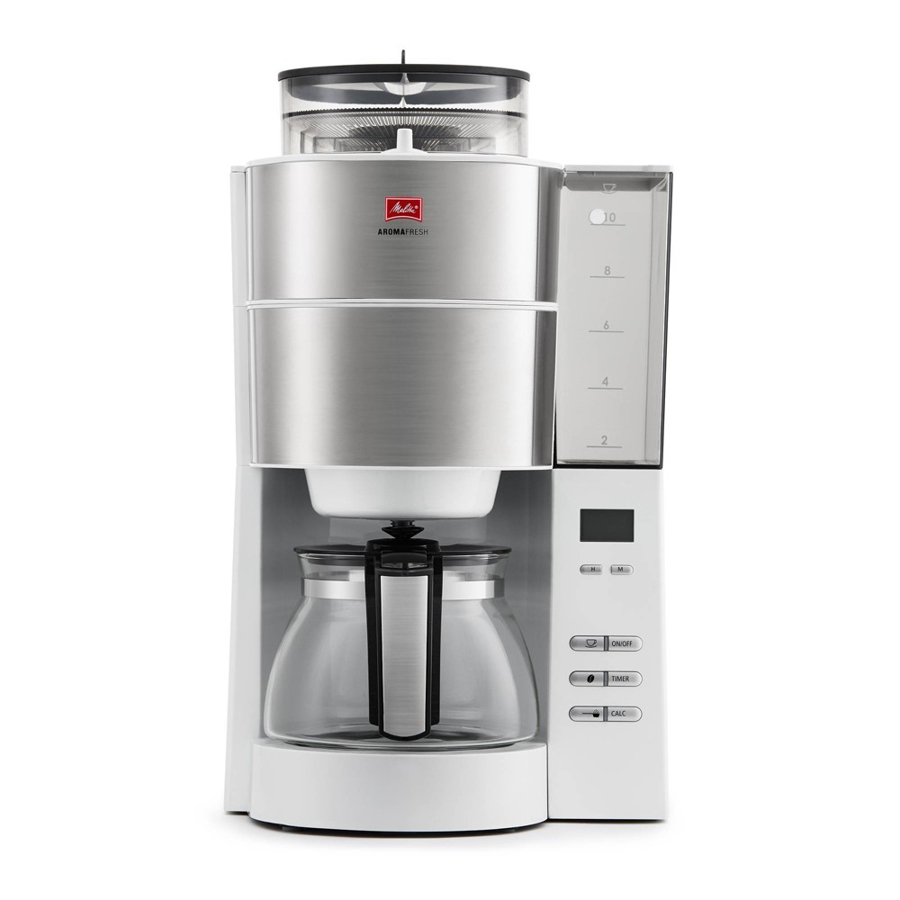 Image of Melitta Aroma Fresh Grind & Brew Coffee Maker 10-cup, White