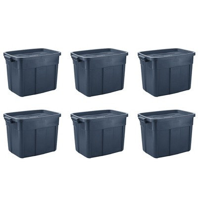 Rubbermaid Roughneck 18 Gallon Rugged Storage Tote in Dark Indigo Metallic with Lid and Handles for Home, Basement, Garage, (6 Pack)