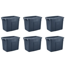 Rubbermaid Roughneck 18 Gallon Rugged Stackable Storage Tote Container (6 Pack)
