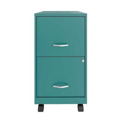 """18"""" Deep 2-Drawer Vertical File with Casters Teal - Space Solutions"""