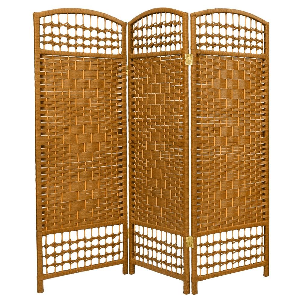 Image of 4 ft. Tall Fiber Weave Room Divider - Light Beige (3 Panels) - Oriental Furniture