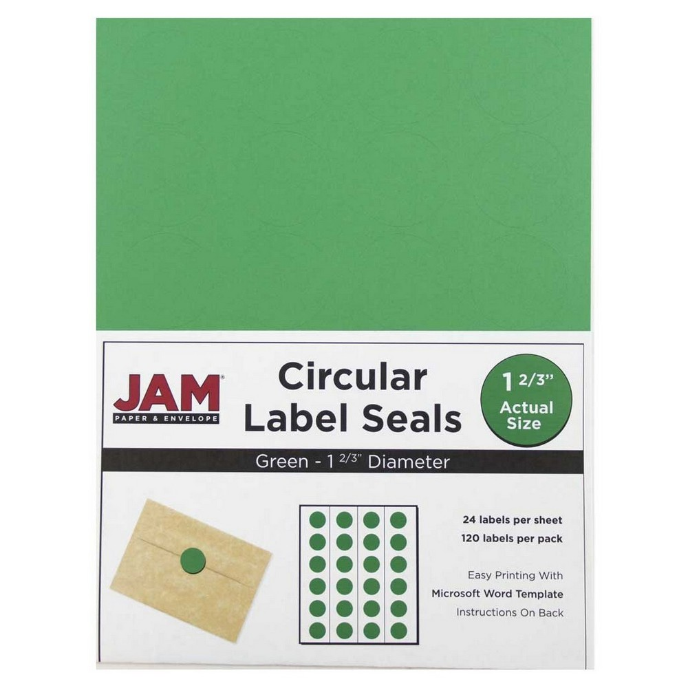 Jam Paper Circle Sticker Seals 1 2/3 120ct - Green Jam Paper Round Circle Label Sticker Seals measure 1 2/3 inches in diameter and are sold on sheets of 24 labels. Each pack contains 5 sheets for a total of 120 labels per pack! These labels feature a light, soft, and inviting baby blue color that will give a peaceful and calm look to your mail. These labels are great for reinforcing envelopes, creating small price tags for yard sales, marking mail or items with initials, and more! Compatible with most printers, these labels can be customized in your own office or home. Additionally, they are easy to write on with most kinds of pens and markers. Try these round labels for your home or office needs. Color: Green. Age Group: Adult.