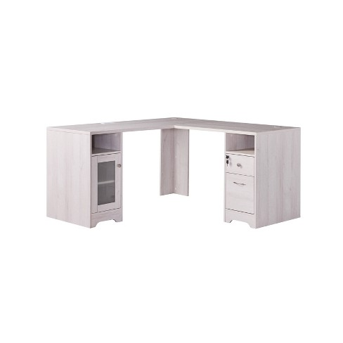 Ghally Locking Drawer L Shape Desk With, Desk With Locking Drawers