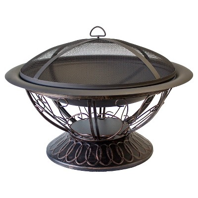 "18"" AZ Patio Heaters Woodburning Scroll Design Fire Pit - Matte Black"