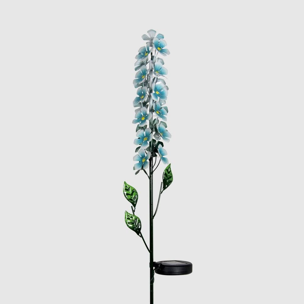 "42"" Metal Solar Flower Stalk Garden Stake Turquoise Blue - Exhart"