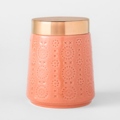 Glazed Stoneware Food Storage Canister 32oz Orange - Threshold™