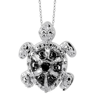 "120 CT. T.W. Round-Cut Black and White Diamond Prong Set Turtle Pendant- White (18"")"