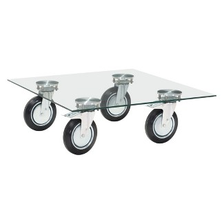 """Modern Low Profile Glass Square 40"""" Coffee Table - ZM Home"""