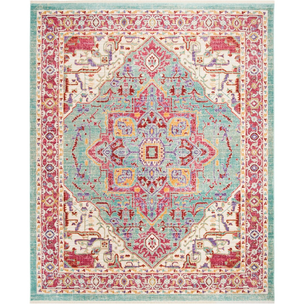 8x10 Medallion Loomed Area Rug Aqua Safavieh Blue