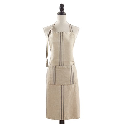 Classic Tie Striped Linen Cooking Apron 35 x28  Beige - Saro Lifestyle