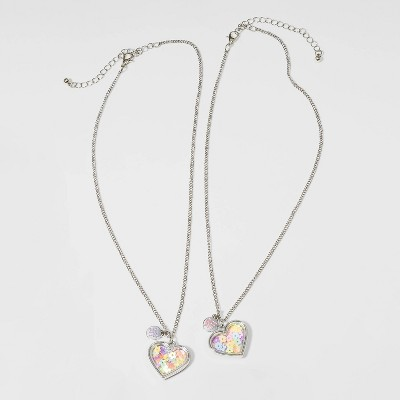 Girls' 2pk Floral Heart Necklace - Cat & Jack™