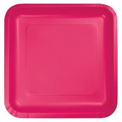 "Hot Magenta Pink 9"" Paper Plates - 18ct"
