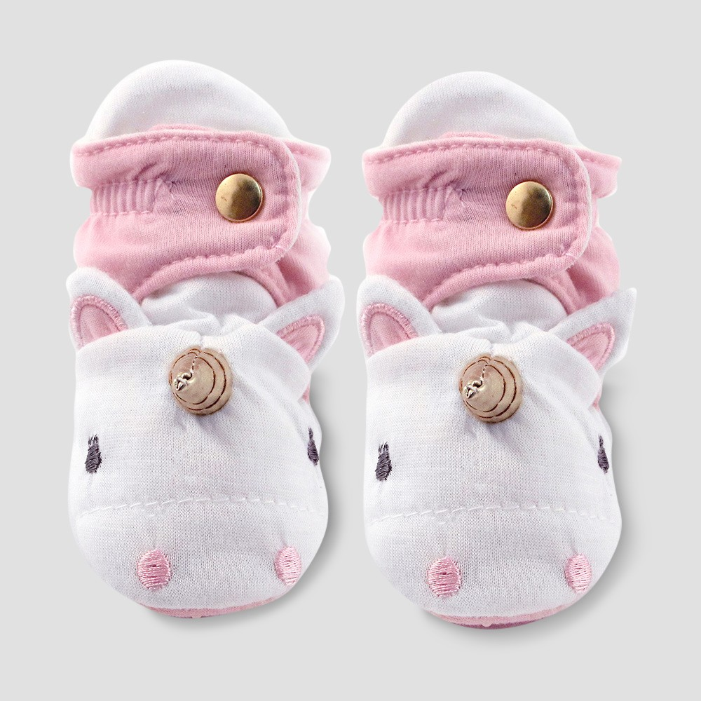 Image of Baby Girls' Unicorn Bootie Wrap - Cloud Island Pink 3-6M, Girl's