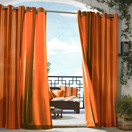 'Outdoor Décor Gazebo Solid Indoor/Outdoor Grommet Top Curtain Panel - Orange (50''x84''), Size: 50x84'''