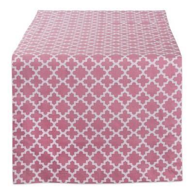 108 x14  Rose Lattice Table Runner Pink - Design Imports