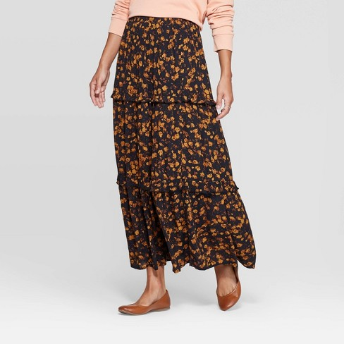 Women's Floral Print Tiered Ruffle Maxi Skirt - Universal Thread™ - image 1 of 3