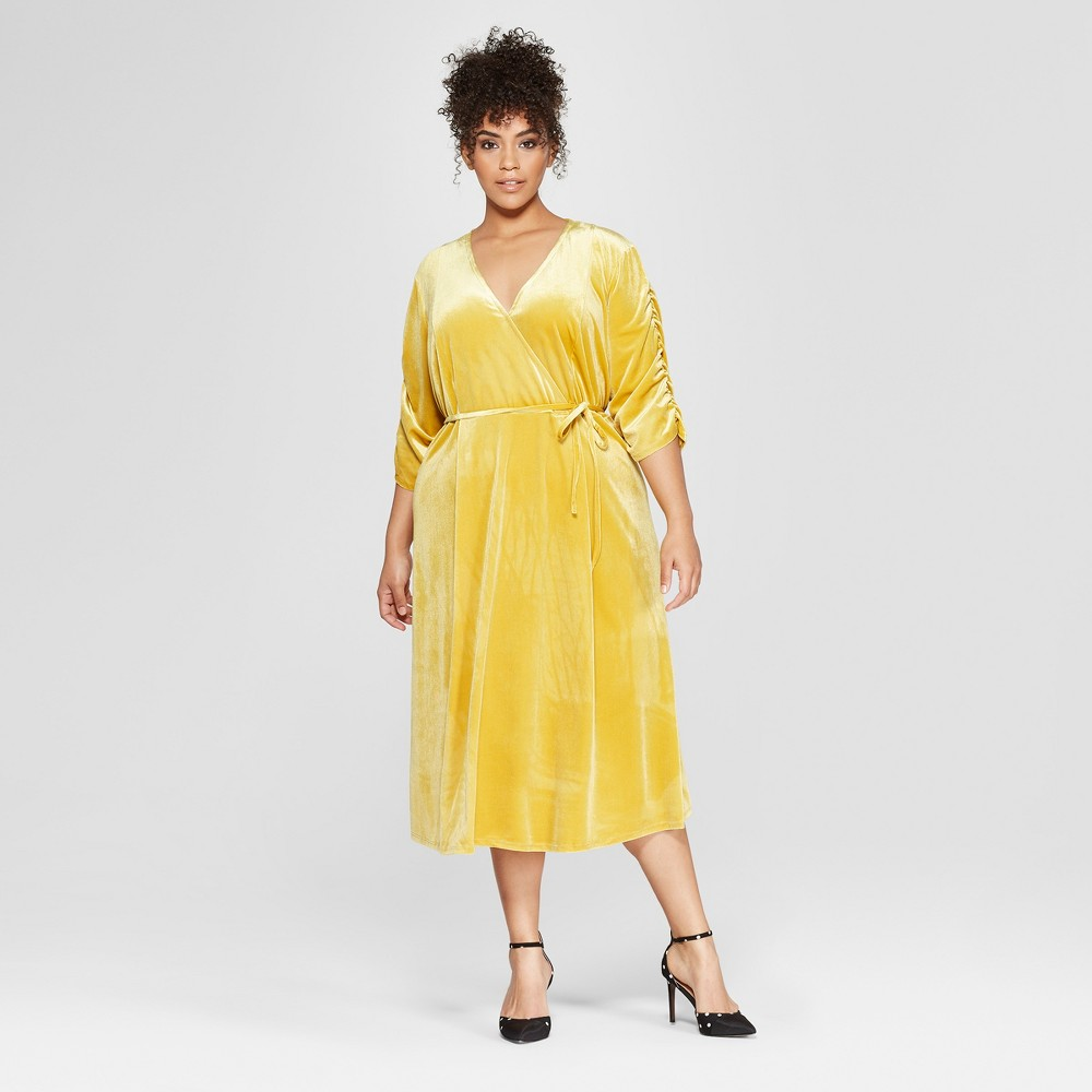 Women's Plus Size Short Shirred Sleeve Midi Dress - Who What Wear Gold 3X
