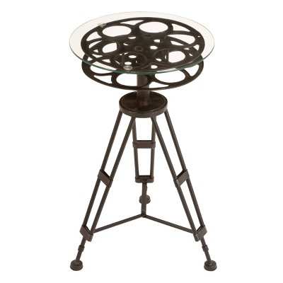 Eclectic Glass and Metal Accent Table Black - Olivia & May