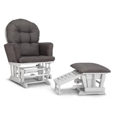 Graco Parker Semi-Upholstered Glider and Nursing Ottoman - White/Gray