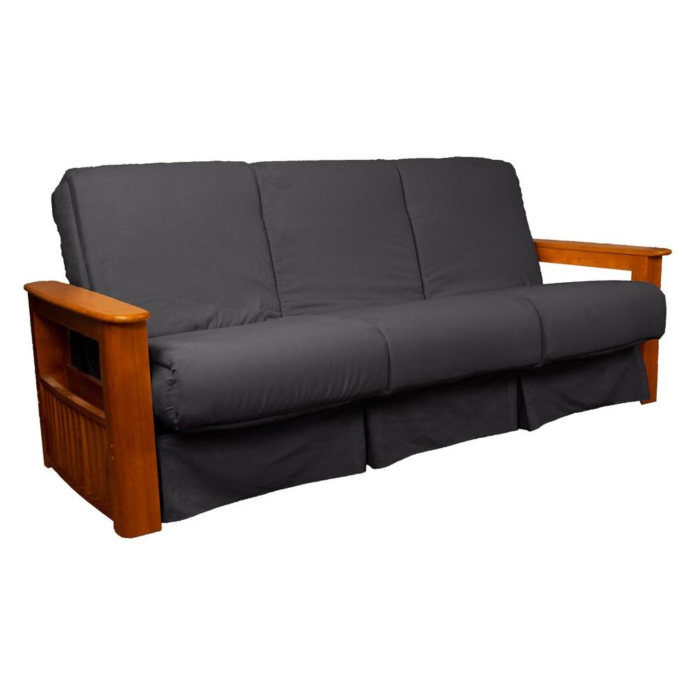 Flip Top Arm Perfect Futon Sofa Sleeper Medium Oak Wood Finish Slate Gray - Epic Furnishings