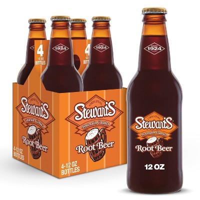 Stewart's Root Beer Made with Sugar - 4pk/12 fl oz Glass Bottles