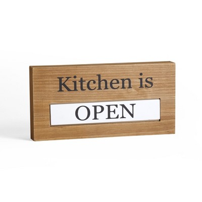 Lakeside Wooden Tabletop Sign with Reversible Flip Plaque - Open or Closed