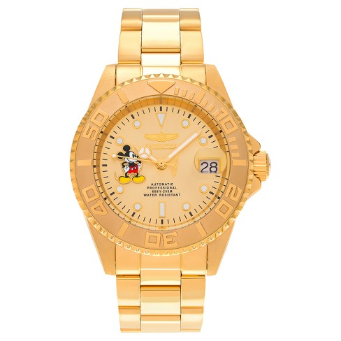 Men's Invicta 22779 Mickey Mouse Dial Link Bracelet Watch - Gold - image 1 of 5