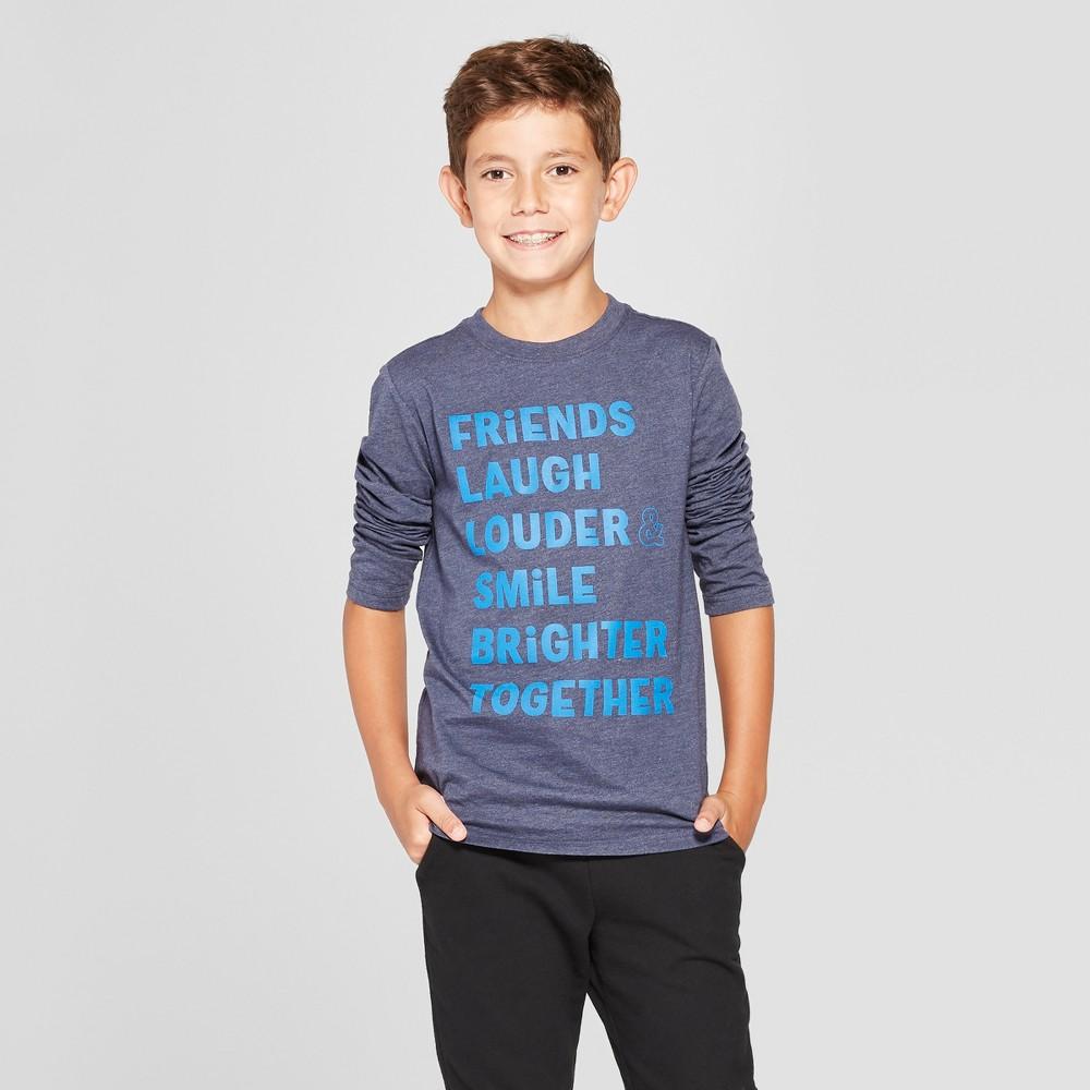 Boys' Friends Long Sleeve Graphic T-Shirt - Cat & Jack Navy Heather M, Blue