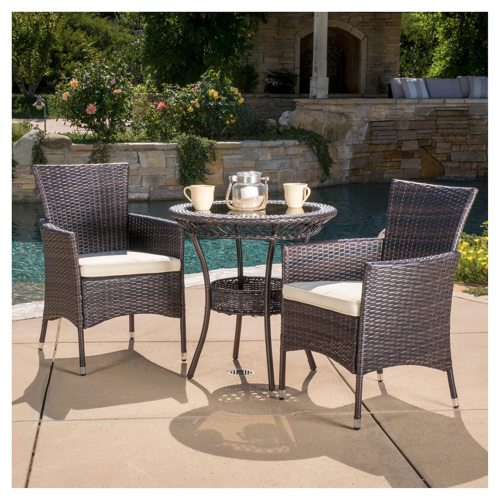 Parker 3-Piece Wicker Patio Bistro Seating Set with Cushions - Brown - Christopher Knight Home