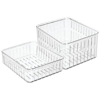 mDesign Vented Fridge Storage Bin Basket for Fruit, Vegetables, Set of 2 - Clear