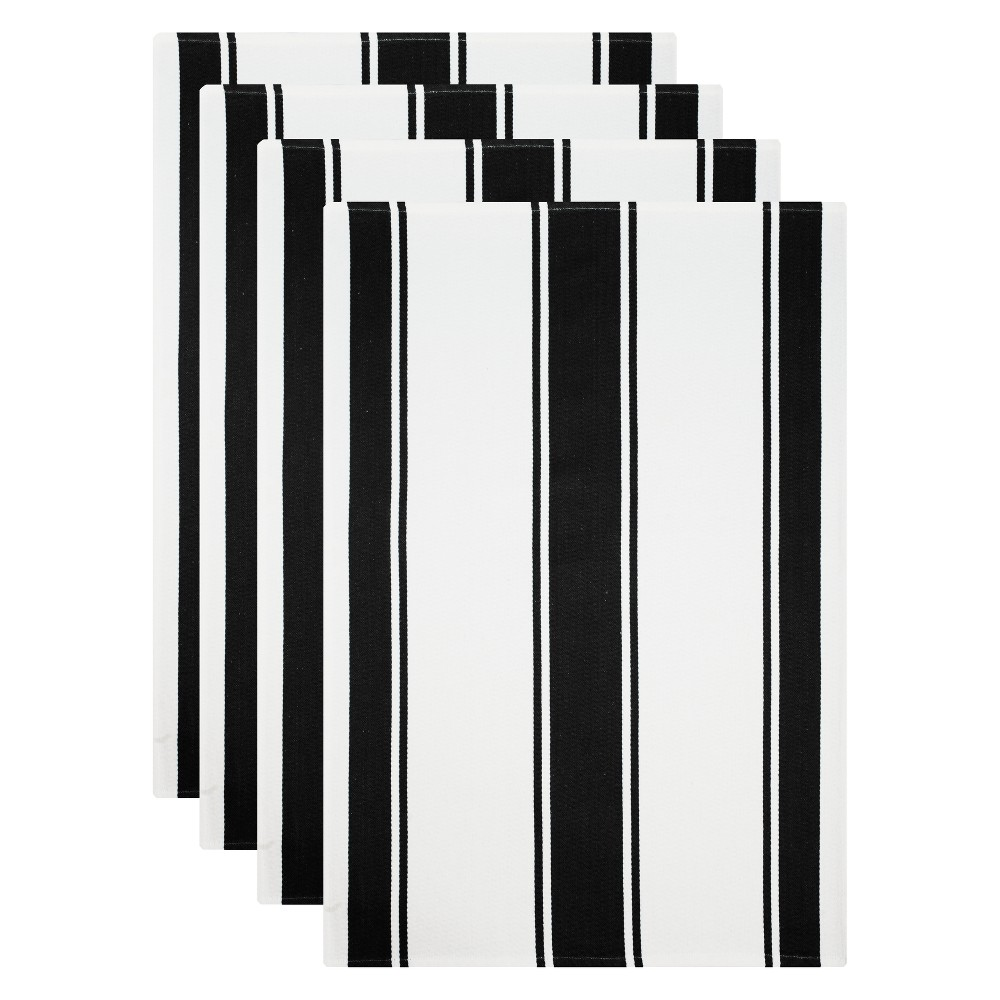Kitchen Towel White/Black Set of 4 - Mu Kitchen Cook up a storm without wreaking havoc to your kitchen with this Set of 4 White/Black Kitchen Towels from Mu Kitchen. The soft, absorbent cotton towels with a striped pattern perfectly combines fashion and functionality to make your time in the kitchen a wee bit easier. The striped pattern in monochrome adds chic contemporary style to your kitchen space. Put on your chef's hat for the next potluck or cooking marathon, and let this all-around kitchen helper take care of the rest. Pattern: Multi Stripe.