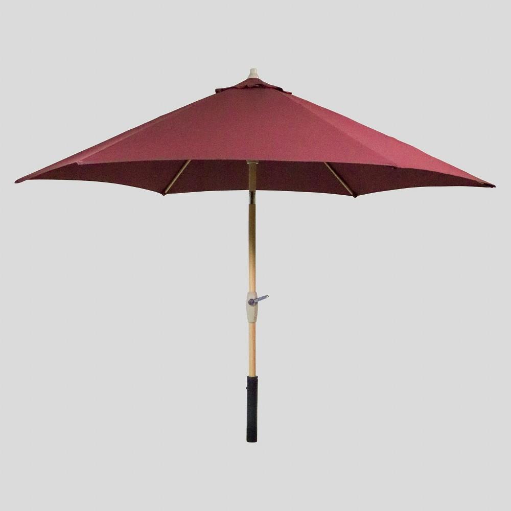 9' Round Patio Umbrella Merlot - Light Wood Pole - Threshold