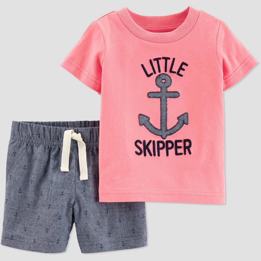 Baby Boys' 2pc Little Skipper Shorts Set - Just One You made by carter's Pink/Gray 24M, Red