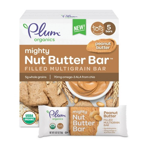 Plum Organics Mighty Nut Butter Bar Peanut Butter - 5ct/0.67oz Each - image 1 of 4