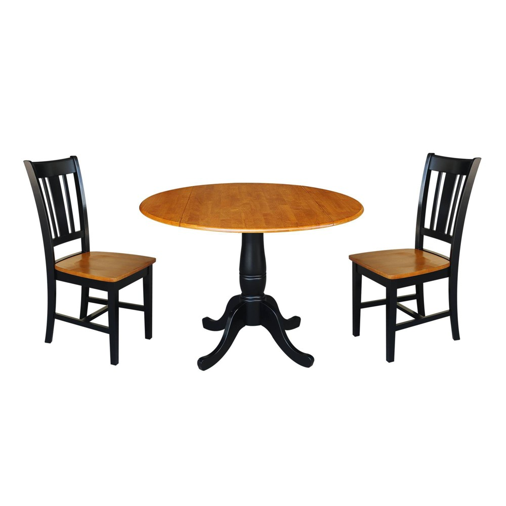 "Image of ""29.5"""" Round Top Pedestal Table with 2 Chairs Natural/Black - International Concepts"""