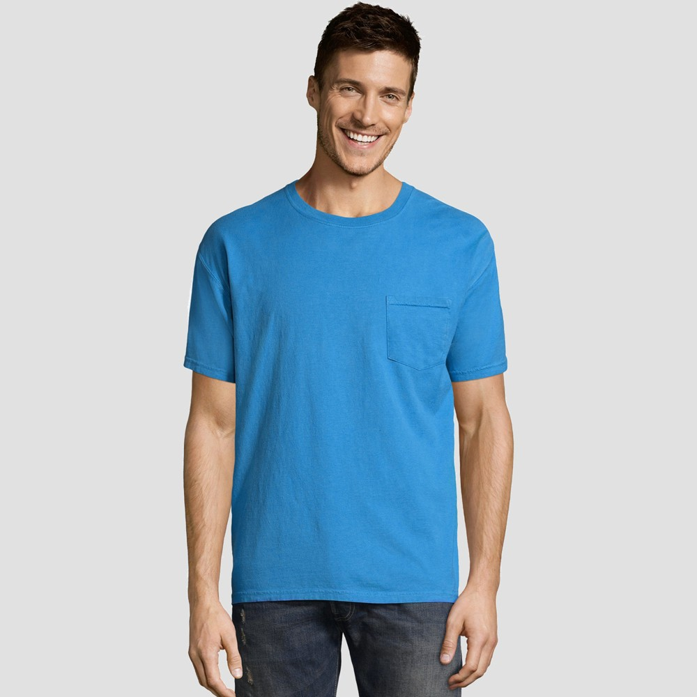 Hanes Men S Short Sleeve 1901 Garment Dyed Pocket T Shirt Sky Blue M