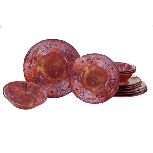 12pc Radiance Red Melamine Dinnerware Set Certified International