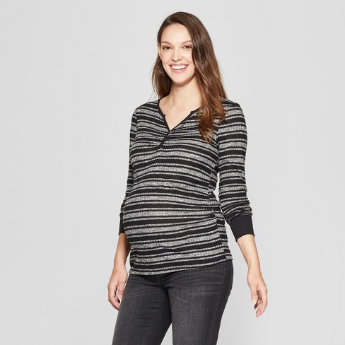 Maternity Striped Long Sleeve Button Placket Top - MaCherie - Black S - image 1 of 2