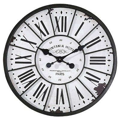 "24"" Round Metal & Wood Wall Clock White - 3R Studios"