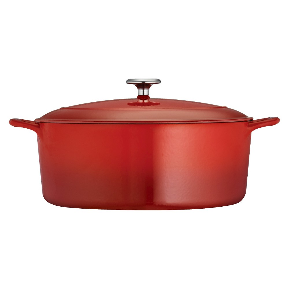Tramontina 7qt Cast Iron Dutch Oven Red Tramontina's Gourmet Enameled Cast Iron Covered Dutch Oven is prized by cooks for heat retention and even cooking. This dutch oven will deliver heat slowly to tenderize meats, poultry and vegetables and comes in a vibrant, gradated porcelain enamel exterior finish offering an elegant kitchen to table serving option. The self-basting condensation ridges on lid uniformly collect and direct vapors onto food, so your foods are evenly and thoroughly baked, roasted and slow-simmered for incredible flavors and consistency. Sturdy side handles make for secure lifting and transferring of the dutch oven to your table. The heavy-gauge cast-iron covered Dutch oven cooking surface is coated with off-white, smooth and easy-to-clean Pfoa and Ptfe-free porcelain enamel. This cookware is oven-safe up to 450°F (232°F), and compatible with induction, gas, electric and ceramic glass cooktops. The Covered Dutch Oven is part of the Tramontina Gourmet Collection, a series of timeless products crafted especially for the cooking enthusiast. Size: 7qt. Color: Red.