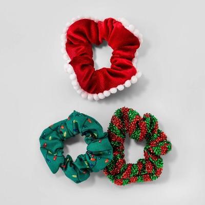 Holiday Novelty Lightbulb and Velvet Hair Twister Set 3pc - Green